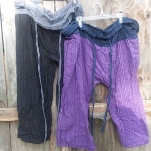 2 Tone Thai Fisherman Pants Yoga Trousers Free Siz